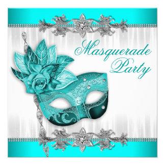 Fiesta hermoso de la mascarada de las azules turqu anuncio personalizado