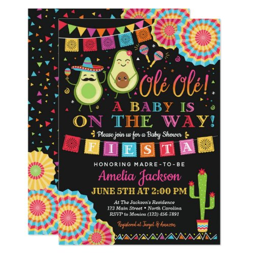 Fiesta Holy Guacamole Baby Shower Invite Mexican