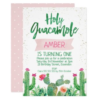 Fiesta Holy Guacamole Birthday Invitation