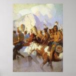 Fiesta indio de la guerra por NC Wyeth, arte Póster