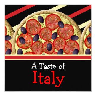 """Fiesta italiano de Italia de la pizza Invitación 5.25"""" X 5.25"""""""