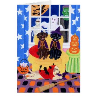 ¡Fiesta Labradors de Halloween! Tarjeta De Felicitación