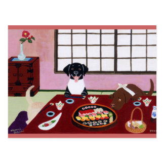 Fiesta Labradors del sushi Tarjetas Postales