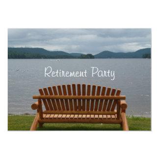 Fiesta-Lakeview del retiro con el banco de madera Invitación 12,7 X 17,8 Cm