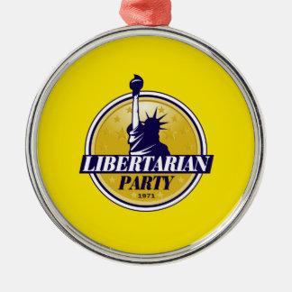 Fiesta libertario adorno navideño redondo de metal