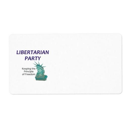 Fiesta libertario de la CAMISETA Etiquetas De Envío