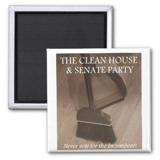Fiesta limpio de la casa y del senado imán cuadrado