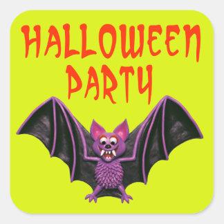 Fiesta lindo de Halloween del palo Pegatinas Cuadradases