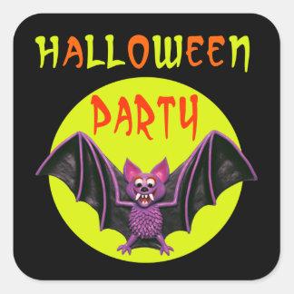 Fiesta lindo de Halloween del palo Calcomanías Cuadradass Personalizadas