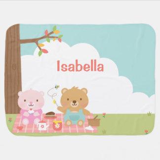 Fiesta lindo de la comida campestre del oso de manta de bebé