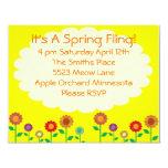 Fiesta lindo del tema de la primavera del vintage invitación 10,8 x 13,9 cm
