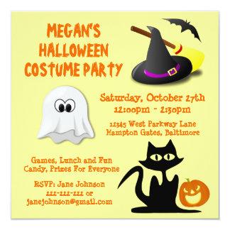 Fiesta lindo del traje de Halloween de los niños Invitación 13,3 Cm X 13,3cm