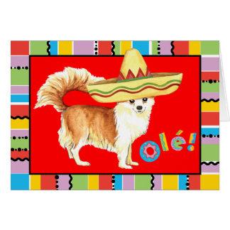 Fiesta Long Coat Chihuahua Greeting Card