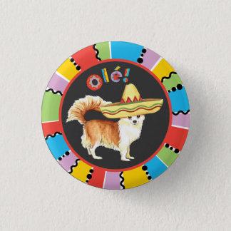 Fiesta Long Coat Chihuahua Pinback Button