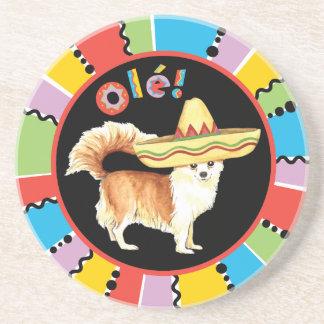 Fiesta Long Coat Chihuahua Sandstone Coaster