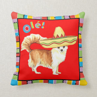 Fiesta Long Coat Chihuahua Throw Pillow