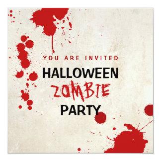 """Fiesta manchado de sangre del vampiro del zombi de invitación 5.25"""" x 5.25"""""""