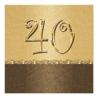 fiesta marrón elegante de la crema 40.a invitación 13,3 cm x 13,3cm