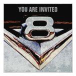 Fiesta masculino negro y gris del cromo de V8 Invitación 13,3 Cm X 13,3cm