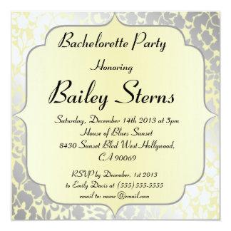 """Fiesta metálico amarillo formal de Bachelorette Invitación 5.25"""" X 5.25"""""""