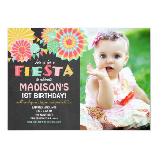 Fiesta Mexican Birthday Party Invitation Pink Gold