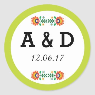 Fiesta Mexican Floral Round Stickers Lime Label