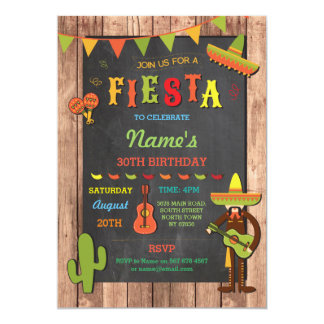 Fiesta Mexican Hat Mexico Birthday Party Invite