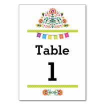 Fiesta Mexican Pattern Table Lime Number Wedding Card