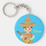 Fiesta mexicana de la guitarra del gorra del llavero redondo tipo pin