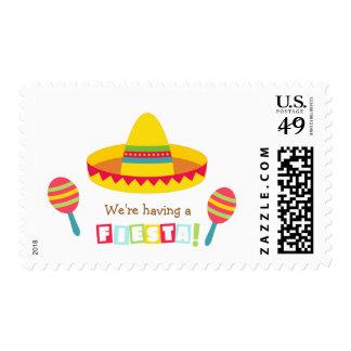 Fiesta mexicano de la fiesta del sombrero colorido franqueo