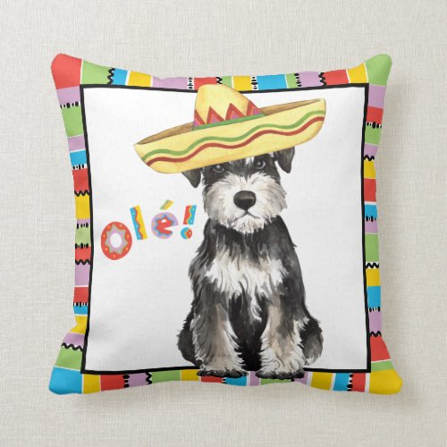 Fiesta Miniature Schnauzer Throw Pillow