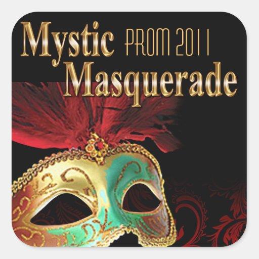 Fiesta místico de la mascarada del baile de fin de calcomanía cuadradas personalizadas