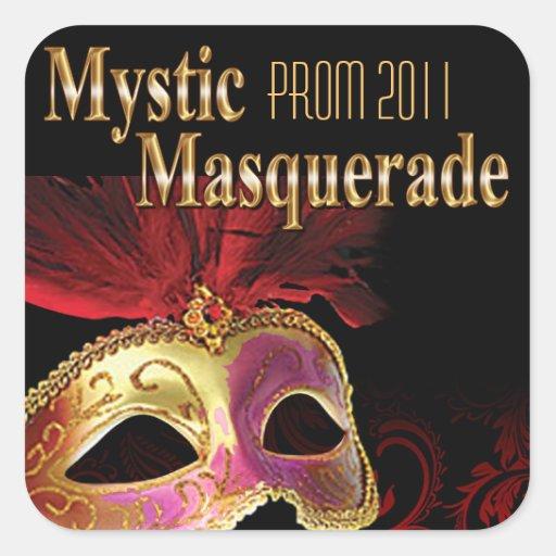 Fiesta místico de la mascarada del baile de fin de colcomanias cuadradass