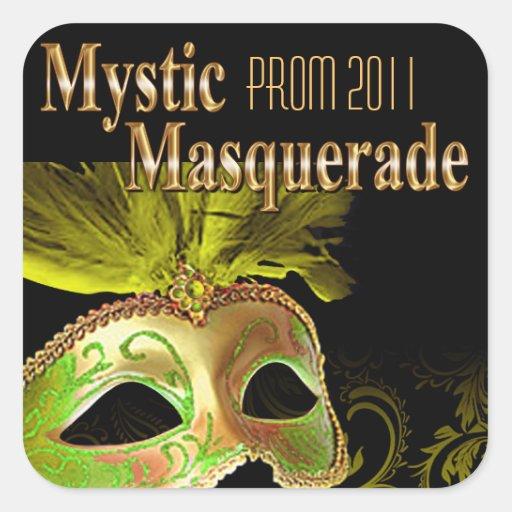 Fiesta místico de la mascarada del baile de fin de calcomanía cuadradas