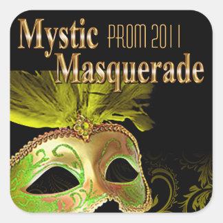 Fiesta místico de la mascarada del baile de fin de pegatina cuadrada
