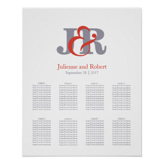 Fiesta | Modern Monogram Wedding Seating Chart