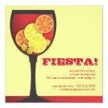 """Fiesta Modern Wineglass Party Invitation 5.25"""" Square Invitation Card"""