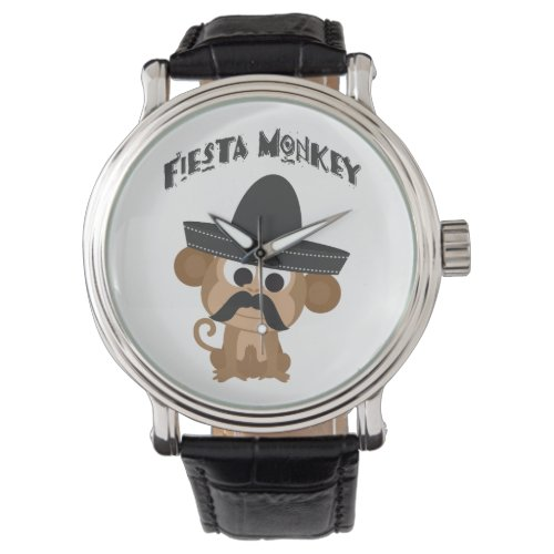 Fiesta Monkey with a Mustach and Mexican Sombrero Wrist Watch
