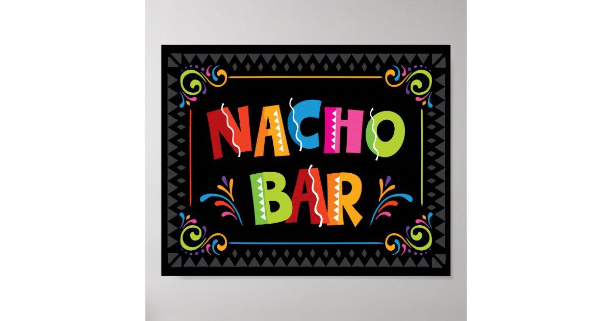 Fiesta Nacho Bar Party Sign Print Zazzle Com