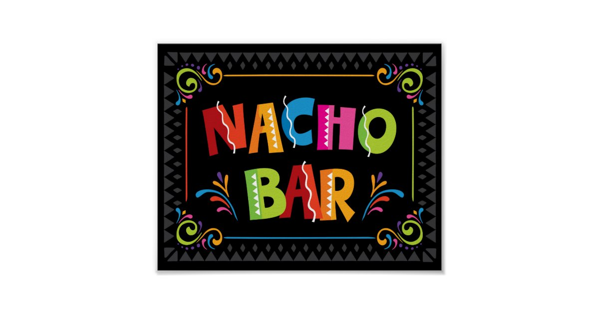 Fiesta Nacho Bar Party Sign Print Zazzle Com