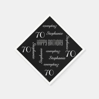 Fiesta negra y 70.a de cumpleaños del blanco que servilletas de papel