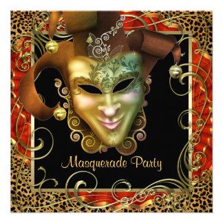Fiesta negro anaranjado de la mascarada del leopar invitación personalizada