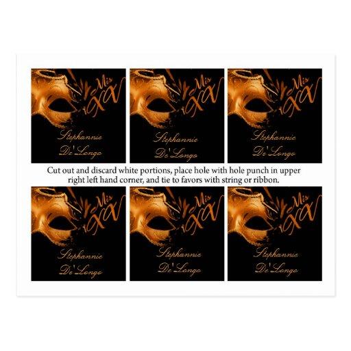 Fiesta negro anaranjado del Mis XV de 6 etiquetas  Postal
