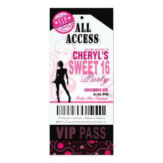 Fiesta negro, blanco y rosado del boleto del dulce invitación 10,1 x 23,5 cm