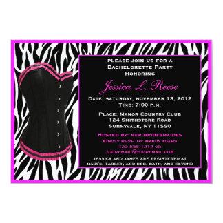 Fiesta negro de Bachelorette de la cebra del corsé Invitaciones Personalizada