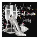 Fiesta negro de Bachelorette de los tacones altos Invitaciones Personalizada