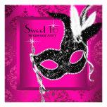 Fiesta negro de la mascarada del dulce 16 de las r invitación personalizada