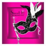 Fiesta negro de la mascarada del dulce 16 de las r comunicado personalizado