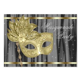 """Fiesta negro de la mascarada del oro invitación 4.5"""" x 6.25"""""""