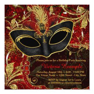 """Fiesta negro de Maquerade del rojo y del oro Invitación 5.25"""" X 5.25"""""""